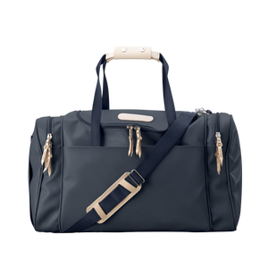 Medium Square Duffel - Navy Coated Canvas Front Angle in Color 'Navy Coated Canvas'