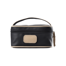 Load image into Gallery viewer, Mini Makeup Case - Black Coated Canvas Front Angle in Color 'Black Coated Canvas'