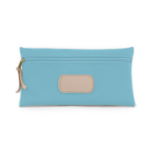 Large Pouch - Ocean Blue Coated Canvas Front Angle in Color 'Ocean Blue Coated Canvas'