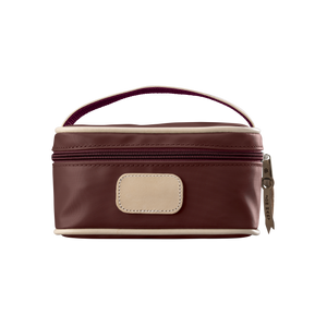 Mini Makeup Case - Burgundy Coated Canvas Front Angle in Color 'Burgundy Coated Canvas'