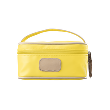 Load image into Gallery viewer, Mini Makeup Case - Lemon Coated Canvas Front Angle in Color 'Lemon Coated Canvas'
