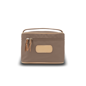 Makeup Case - Saddle Coated Canvas Front Angle in Color 'Saddle Coated Canvas'