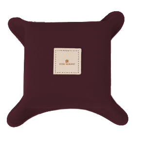 Catch-All - Burgundy Coated Canvas Front Angle in Color 'Burgundy Coated Canvas'