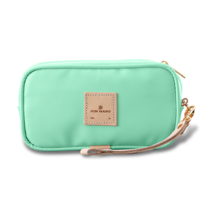 Wristlet - Mint Coated Canvas Front Angle in Color 'Mint Coated Canvas'