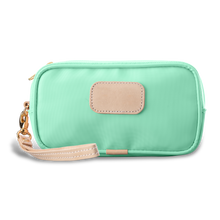 Load image into Gallery viewer, Wristlet - Mint Coated Canvas Front Angle in Color 'Mint Coated Canvas'