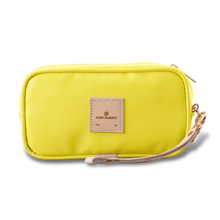 Load image into Gallery viewer, Wristlet - Lemon Coated Canvas Front Angle in Color 'Lemon Coated Canvas'
