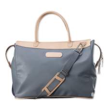 Load image into Gallery viewer, Quality made in America durable coated canvas and natural leather large overnight bag with natural leather patch to personalize with initials or monogram