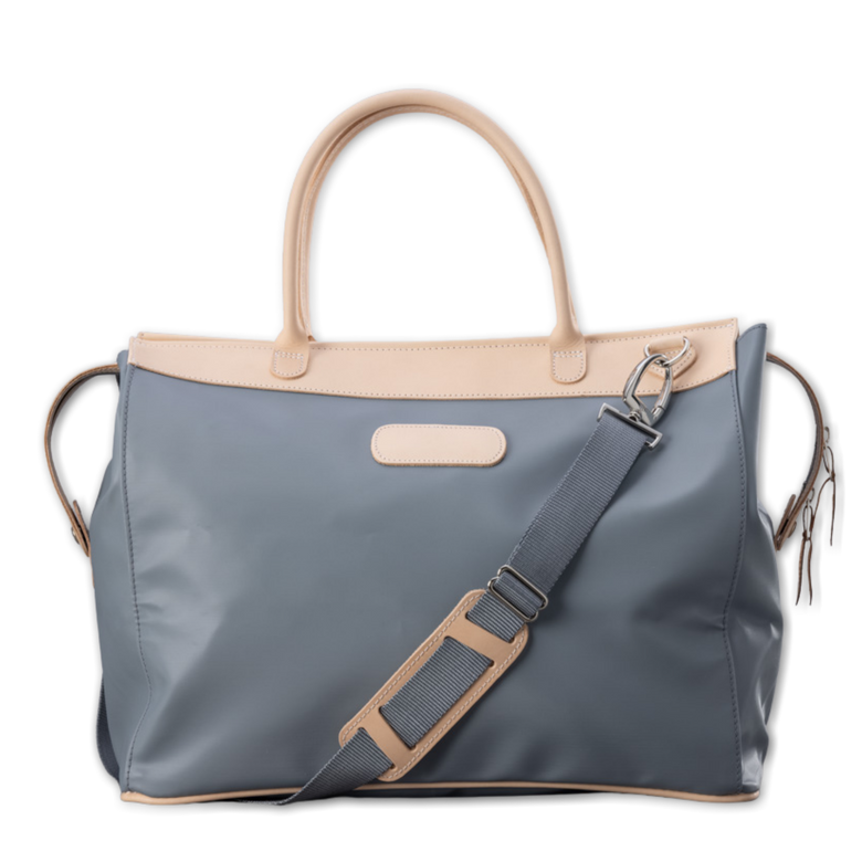 Quality made in America durable coated canvas and natural leather large overnight bag with natural leather patch to personalize with initials or monogram
