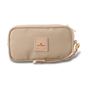 Wristlet - Tan Coated Canvas Front Angle in Color 'Tan Coated Canvas'