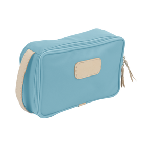 Small Travel Kit - Ocean Blue Coated Canvas Front Angle in Color 'Ocean Blue Coated Canvas'