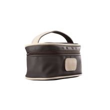 Load image into Gallery viewer, Mini Makeup Case - Espresso Coated Canvas Front Angle in Color 'Espresso Coated Canvas'