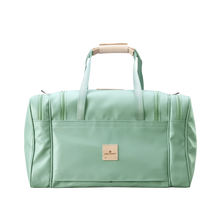 Load image into Gallery viewer, Medium Square Duffel - Mint Coated Canvas Front Angle in Color 'Mint Coated Canvas'
