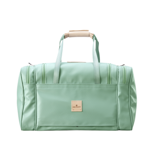 Medium Square Duffel - Mint Coated Canvas Front Angle in Color 'Mint Coated Canvas'