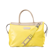 Load image into Gallery viewer, Burleson Bag - Lemon Coated Canvas Front Angle in Color 'Lemon Coated Canvas'