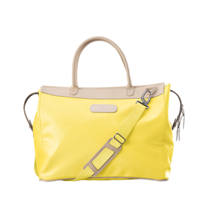 Burleson Bag - Lemon Coated Canvas Front Angle in Color 'Lemon Coated Canvas'