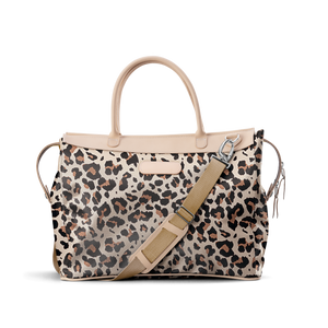 Burleson Bag - Leopard Coated Canvas Front Angle in Color 'Leopard Coated Canvas'