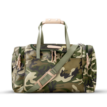 Load image into Gallery viewer, Medium Square Duffel - Classic Camo Coated Canvas Front Angle in Color 'Classic Camo Coated Canvas'
