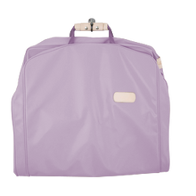 "Load image into Gallery viewer, 50"" Garment Bag - Lilac Coated Canvas Front Angle in Color 'Lilac Coated Canvas'"