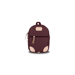 Mini Backpack - Burgundy Coated Canvas Front Angle in Color 'Burgundy Coated Canvas'