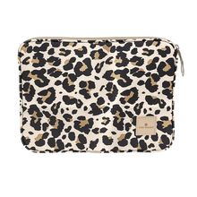 "Load image into Gallery viewer, 13"" Computer Case - Leopard Coated Canvas Front Angle in Color 'Leopard Coated Canvas'"