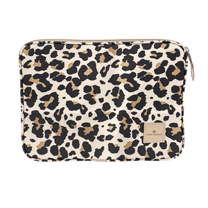 "13"" Computer Case - Leopard Coated Canvas Front Angle in Color 'Leopard Coated Canvas'"