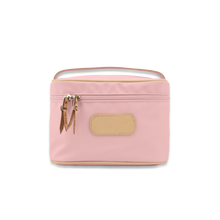 Load image into Gallery viewer, Quality made in America durable coated canvas large makeup case with leather patch to personalize with initials or monogram
