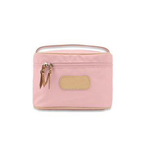 Quality made in America durable coated canvas large makeup case with leather patch to personalize with initials or monogram