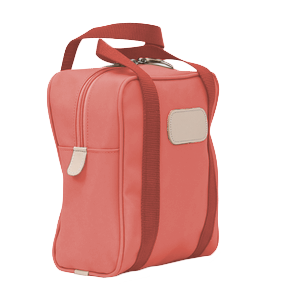 Shag Bag - Coral Coated Canvas Front Angle in Color 'Coral Coated Canvas'