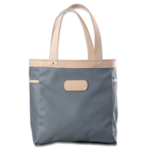 Load image into Gallery viewer, Quality made in America  durable coated canvas and natural leather tote bag with leather patch to personalize with initials or monogram