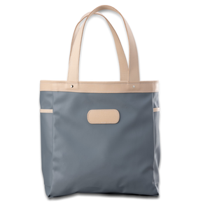 Quality made in America  durable coated canvas and natural leather tote bag with leather patch to personalize with initials or monogram