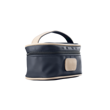Load image into Gallery viewer, Mini Makeup Case - Charcoal Coated Canvas Front Angle in Color 'Charcoal Coated Canvas'