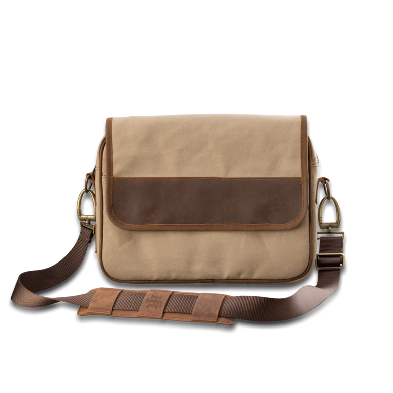 Quality made in America cotton canvas and oiled leather computer messenger bag to personalize with initials or monogram