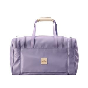 Medium Square Duffel - Lilac Coated Canvas Front Angle in Color 'Lilac Coated Canvas'