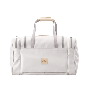 Medium Square Duffel - White Coated Canvas Front Angle in Color 'White Coated Canvas'