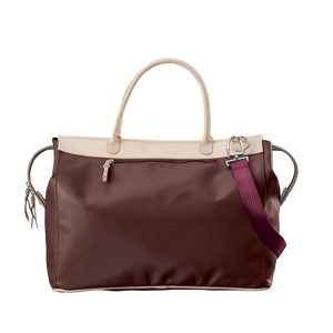 Burleson Bag - Burgundy Coated Canvas Front Angle in Color 'Burgundy Coated Canvas'