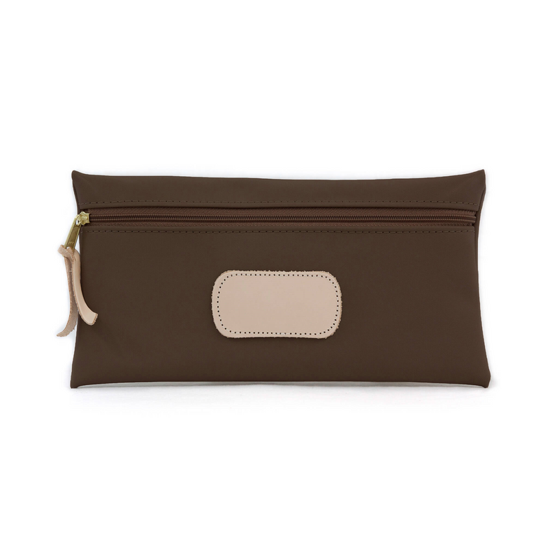 Large Pouch - Espresso Coated Canvas Front Angle in Color 'Espresso Coated Canvas'