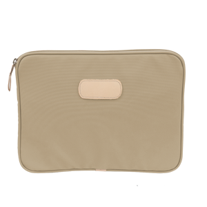 "13"" Computer Case - Tan Coated Canvas Front Angle in Color 'Tan Coated Canvas'"