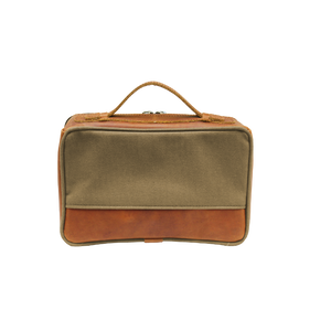 JH Dopp Kit - Khaki Canvas Front Angle in Color 'Khaki Canvas'