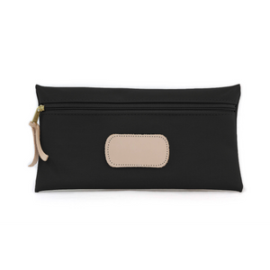 Large Pouch - Black Coated Canvas Front Angle in Color 'Black Coated Canvas'