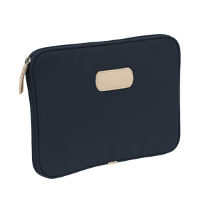 "13"" Computer Case - Navy Coated Canvas Front Angle in Color 'Navy Coated Canvas'"