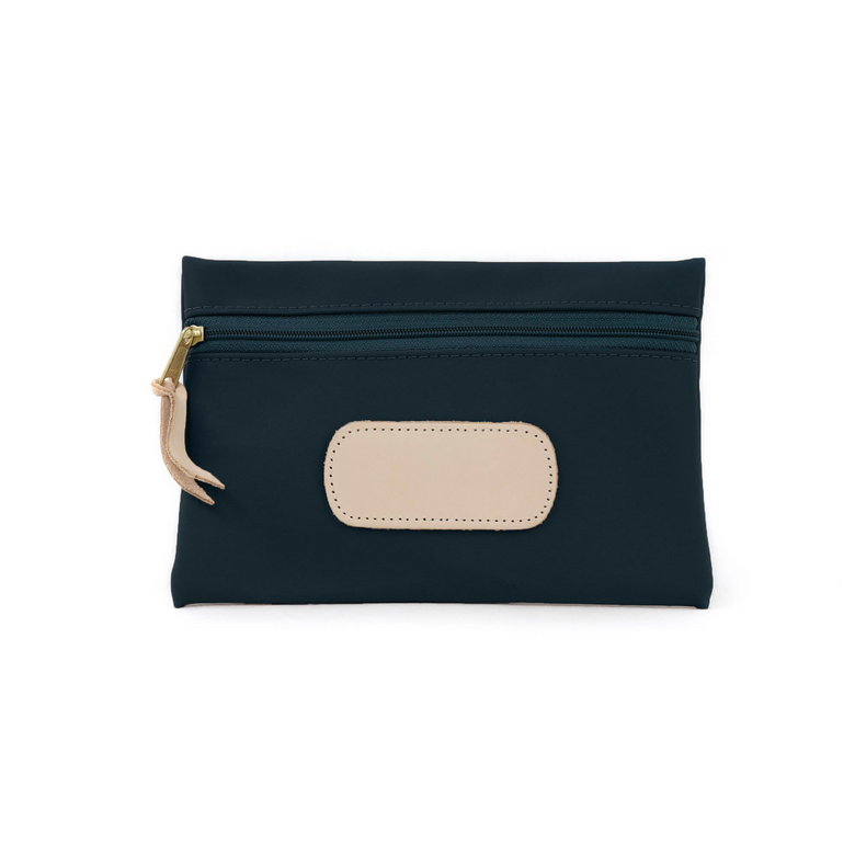 Pouch - Navy Coated Canvas Front Angle in Color 'Navy Coated Canvas'