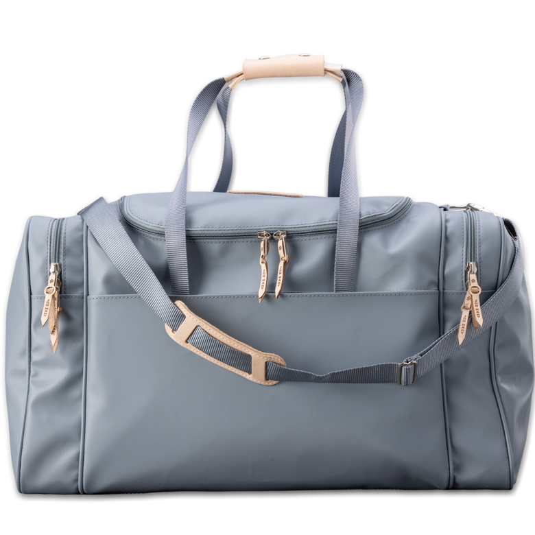 Quality made in America durable coated canvas large duffle bag with natural leather patch to personalize with initials or monogram