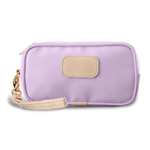 Load image into Gallery viewer, Wristlet - Lilac Coated Canvas Front Angle in Color 'Lilac Coated Canvas'