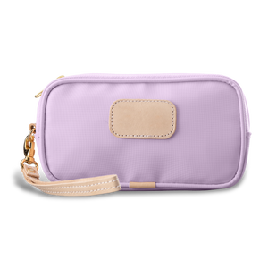 Wristlet - Lilac Coated Canvas Front Angle in Color 'Lilac Coated Canvas'