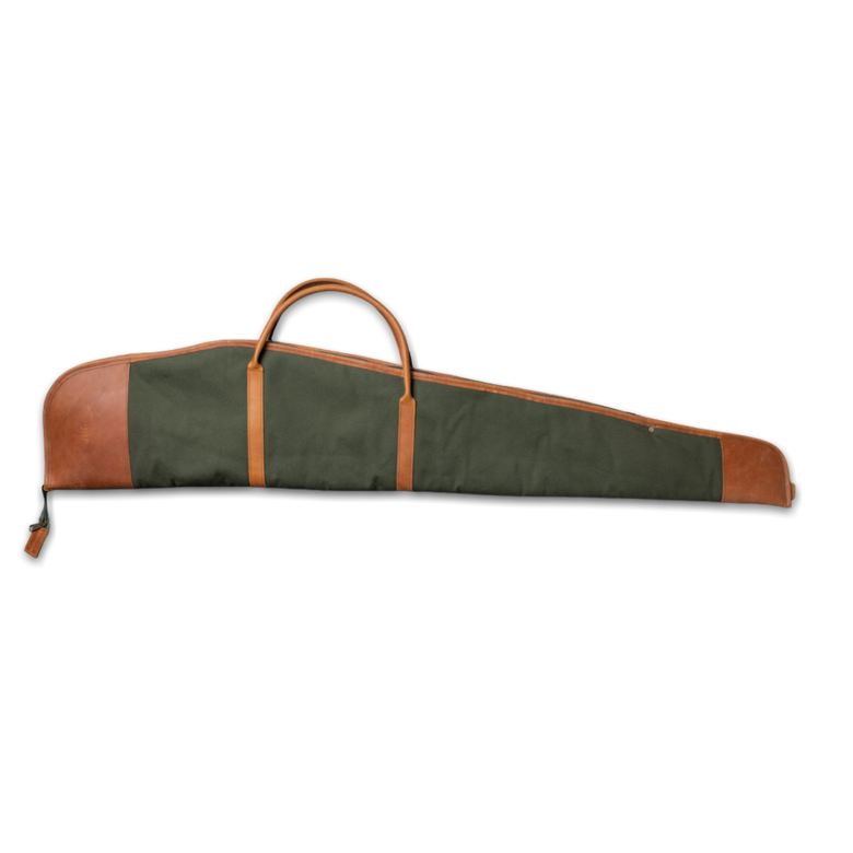 Quality made in America fleece lined cotton canvas rifle cover bag  with leather patch to personalize with initials or monogram