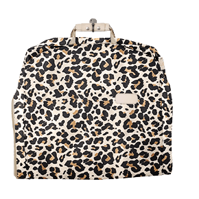 "50"" Garment Bag - Leopard Coated Canvas Front Angle in Color 'Leopard Coated Canvas'"