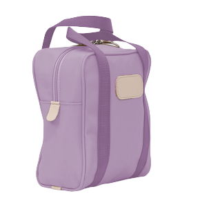 Shag Bag - Lilac Coated Canvas Front Angle in Color 'Lilac Coated Canvas'