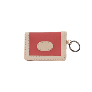 ID Wallet - Coral Coated Canvas Front Angle in Color 'Coral Coated Canvas'
