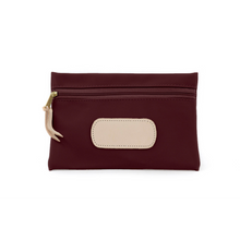 Load image into Gallery viewer, Pouch - Burgundy Coated Canvas Front Angle in Color 'Burgundy Coated Canvas'
