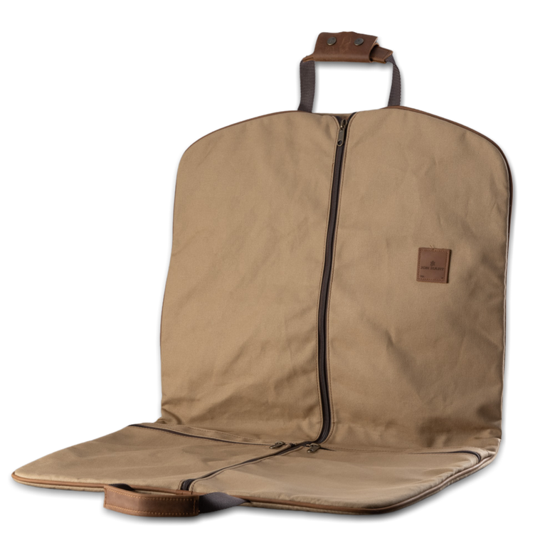 Quality made in America cotton canvas hanging and folding garment bag with leather patch to personalize with initials or monogram
